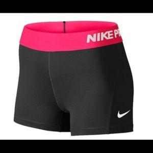 Nike Pro Workout Compression Shorts Pink Black